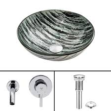 Kitchen Sink With Faucet Set Vigo Glass Vessel Sink In White Frost With Waterfall Faucet Set In