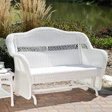 White Wicker Outdoor Patio Furniture by Coral Coast Casco Bay Resin Wicker Outdoor Glider Loveseat