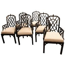 Bamboo Dining Room Furniture by Set Of Six Or 10 Chinese Chippendale Dining Arm Chairs Pagoda