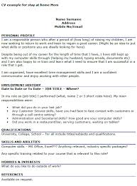 Examples For A Resume by Cv Example For Stay At Home Mom Work From Home Pinterest Cv