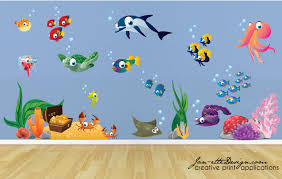 dolphin wall decal etsy kids wall decals fish and deep sea treasure fabric decal set under the