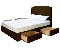 upholstered king platform bed with useful drawers decofurnish