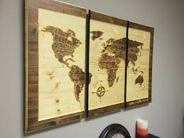 Wood Decor by Wood Wall Art Carved World Map Home Decor Customize Wooden 3