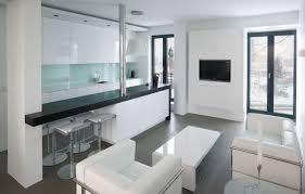 apartment minimalist decoration with cream wool sofa with dark