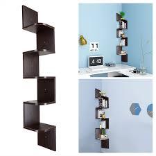 5 tiers wall mount corner zig zag wood shelf floating wooden rack