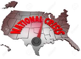 Map Of The Usa by The Words National Crisis On A Map Of The United States Of America