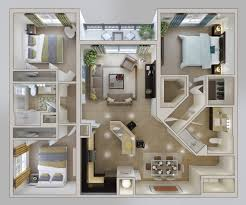 Single Bedroom Apartment Floor Plans by 50 Three U201c3 U201d Bedroom Apartment House Plans Apartment Floor Plans