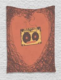Music Home Decor by Vintage Wall Hanging Tapestry Retro Cassette Music Home Decor Ebay