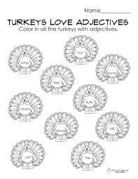 free thanksgiving reading worksheets turkeys love adjectives free parts of speech worksheet
