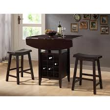ksp tacoma pub table with 2 stools set of 3 black wine rack
