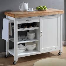 baxton studio denver white kitchen cart with butcher block top denver white kitchen cart with butcher block top