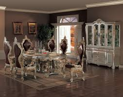Acme Furniture Dining Room Set Dark Wood Dining Room Set With Leg Table Costa Dorada Collection
