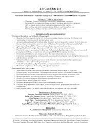 Sales Manager Sample Resume by Distribution Manager Sample Resume 19 Warehouse Resumes Warehouse