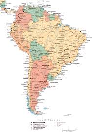 Map Of The South America by Large Political Map Of South America With Roads Major Cities And