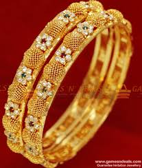 Indian Flower Design 2 6 Size Gold Plated Flower Design South Indian Stone Bangle