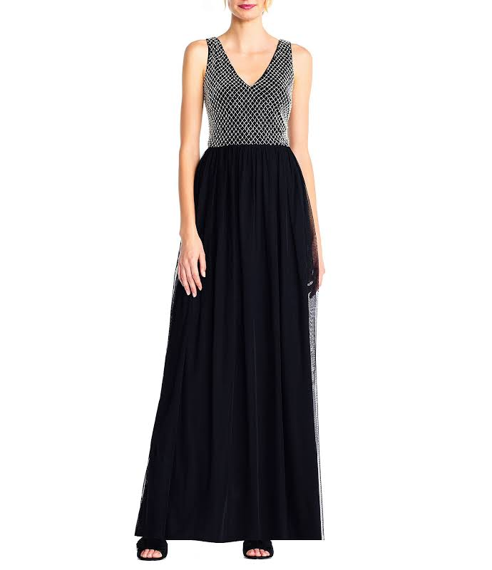 Adrianna Papell Mesh Sleeveless Evening Dress Black 10