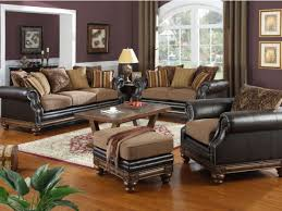Exquisite Formal Living Room Set Using Leather And Fabric Sofa And - Solid oak living room furniture sets