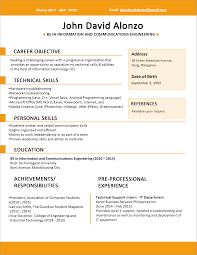 Ms Word Sample Resume by Sample Resume Format For Fresh Graduates One Page Format