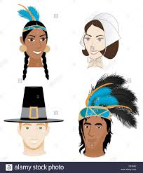 thanksgiving and indians vector illustration of 4 faces for thanksgiving indians and