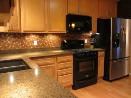 contemporary kitchen backsplash ideas with oak cabinets counter