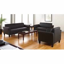 norton 3 pc black faux leather modern living room sofa set