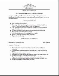 Maintenance Technician Resume Sample by Pc Technician Resume Sample 5 Computer Job Samples Visualcv How To