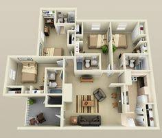 Floor Plan 2 Bedroom Apartment 2 Bedroom House Plans 3d Google Search House Plans Pinterest