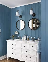 blue bathroom decor victorian light blue and white stripes fabric