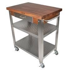 kitchen carts cucina elegante walnut top w drawer shelves