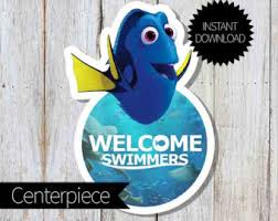 Finding Nemo Centerpieces by Finding Dory Birthday Party Printable Centerpieces Instant