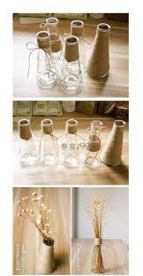 transparent glass vase retro hemp glass bottle flower vase