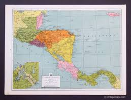 Centro America Map by Central America And Caribbean Vintage Maps