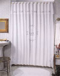 broderie anglaise embroidered shower curtain cotton white or ecru