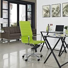 modern minimalist office design with stylish green swivel chair