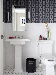 creative black and white small bathroom with chains bathroom