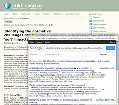 Article Tools If you are reading an article as part of your research literature review  Etikk i praksis will help you find related articles directly on google scholar