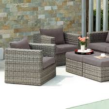 Polyethylene Patio Furniture by Talia Outdoor Deep Seating Club Chair With Ottoman Set Of 2
