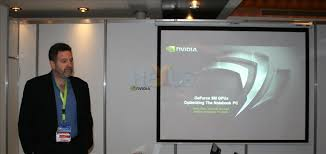 Rene Haas, manager for mobile products, ran through a presentation that highlighted the arrival of the GeForce 9M family of mobile products. - Rene-big