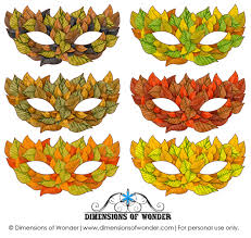 Halloween Masks Printables Printable Halloween Masks In Shades Of Fall Autumn Leaves