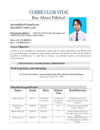 nursing internship resume   Qhtypm happytom co Curriculum Vitae Internship Finance