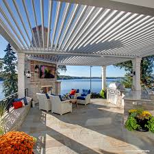 Outdoor Patio With Roof by American Louvered Roof Systems Kuert