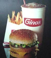 Gino's Hamburger, fries and drink