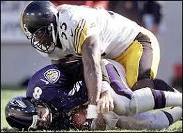 The Ravens defense poses a