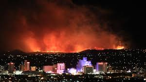 @JustinNOAA tweeted this pictures of a fire in Reno, Nevada, Stunning photo