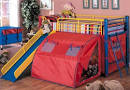 Childrens Loft Bed with Slide and Tent