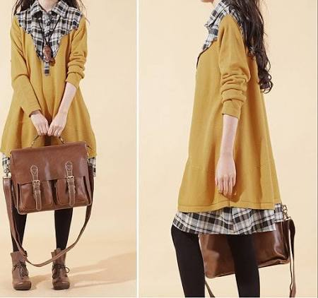 Yellow Knit Sweater Cotton Shirt Dress