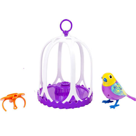 DigiBirds Bird with Bird Cage Purple