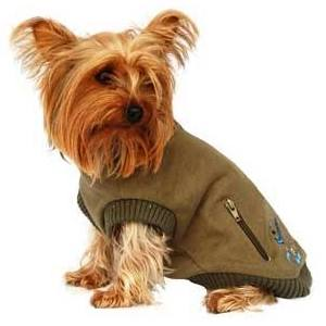 Anima Green Zipper Dog Sweater X-Small