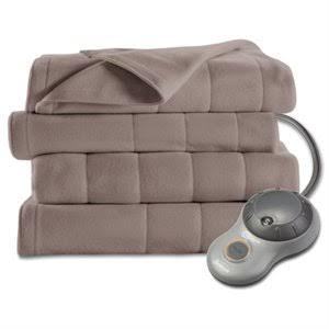 Heated Blanket Fleece 10 Settings Mushroom