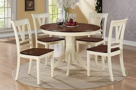 Poundex Round Single Pedestal Dining Table